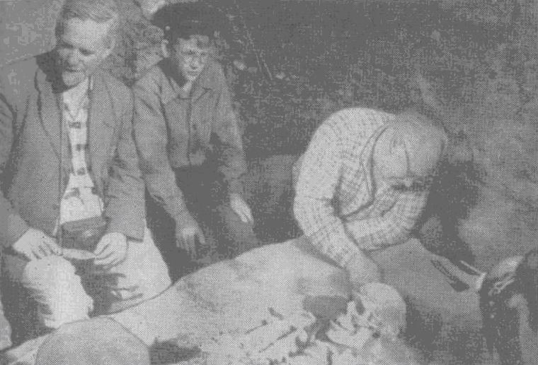 Исследование первого погребения на Сунгирской стоянке в 1964 году Слева направо: О. Н. Бадер, школьник А. Коновалов, первым наткнувшийся на череп, антрополог М. М. Герасимов