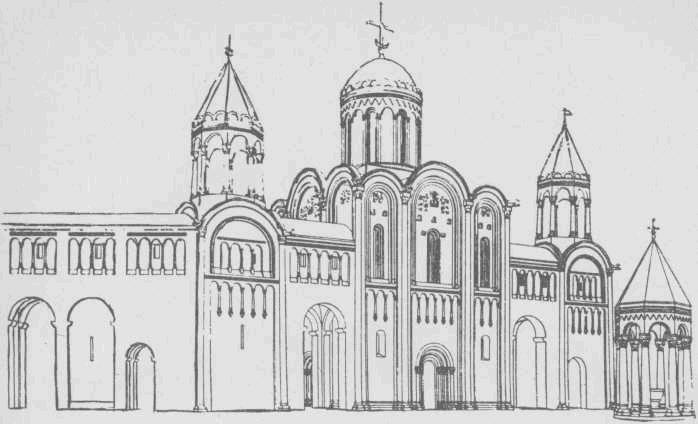 Княжеский дворец в Боголюбове. Таким был, по предположениям исследователя Н. Н. Воронина, первоначальный вид дворца