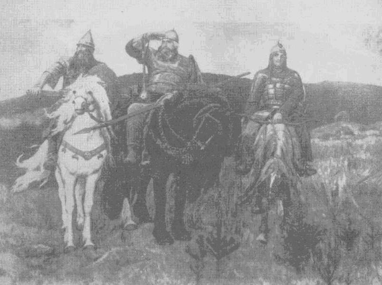 Богатыри. Репродукция с картины художника В. Васнецова