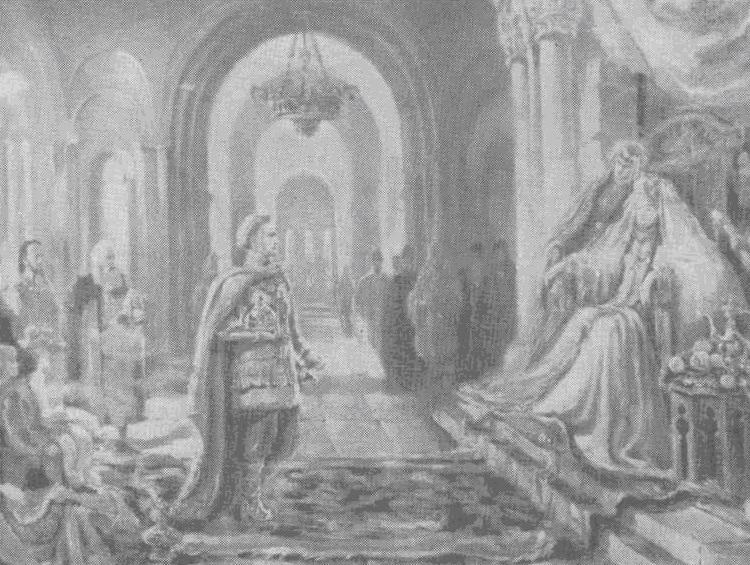 Владимирский княжич Георгий на приеме у царицы Грузии Тамары.