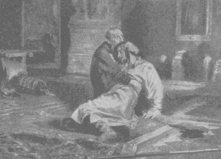 Иван Грозный и сын его Иван 16 ноября 1581 года. Репродукция с картины И. Репина
