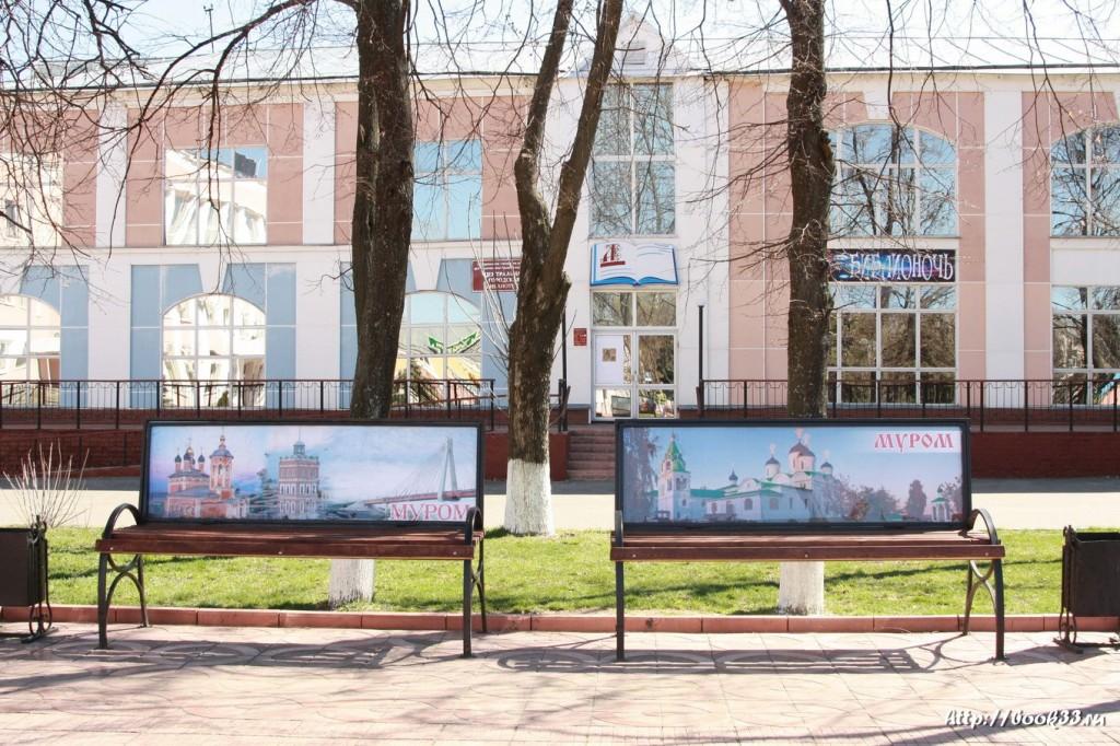 Площадь 1100-летия Мурома. Лавочки c достопримечательностями Мурома