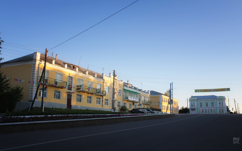 Вид на центральную площадь г. Меленки. Улица Красноармейская