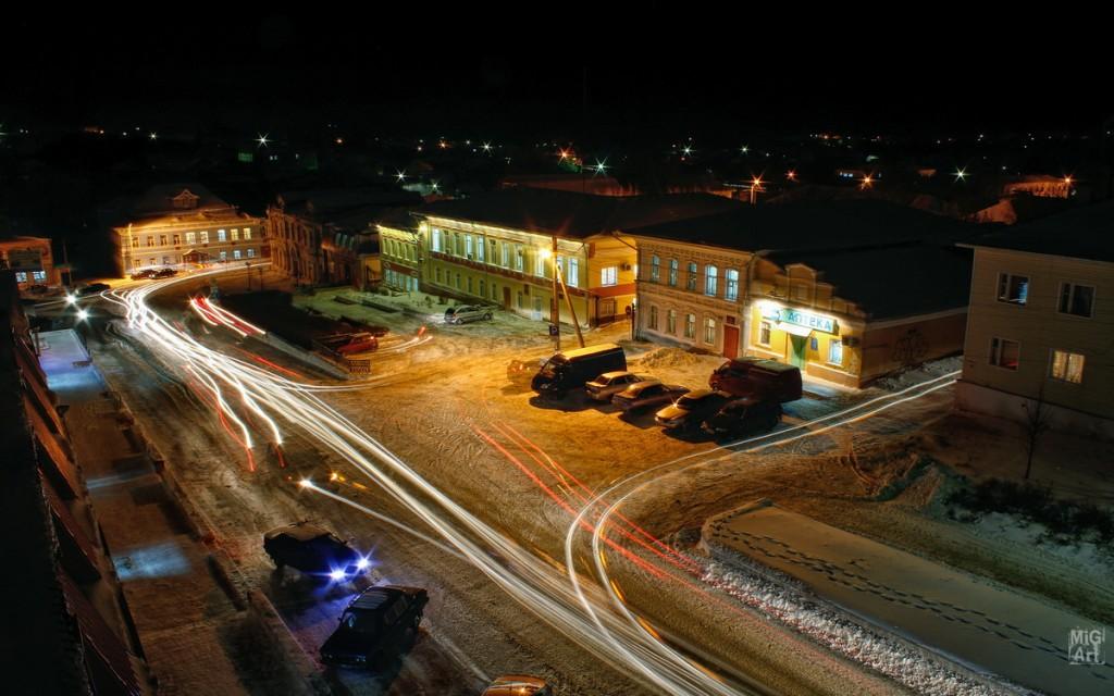 Город Меленки ночью