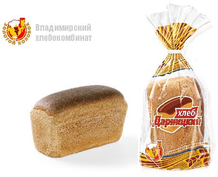 Хлеб дарницкий формовой в упаковке Владимирского хлебокомбината