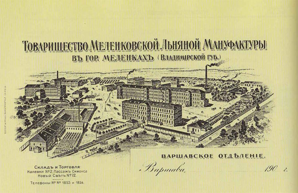 Товарищество Меленковской Льняной Мануфактуры в городе Меленки. Варшавское отделение