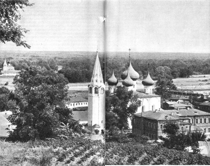 Гороховец. Вид города с древнего городища. На переднем плане Благовещенский собор
