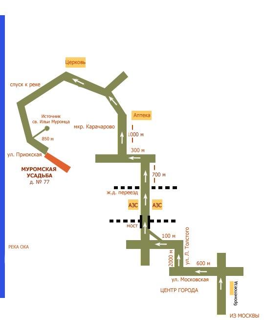 Гостиница Муромская Усадьба в Муроме. Схема проезда