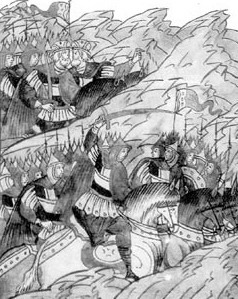 Вступление Мстислава Удатного в бой. Миниатюра из Лицевого летописного свода XVI века.
