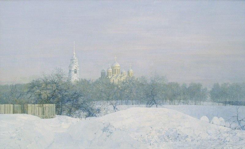 Город Владимир на картине Изотова - Зимний день во Владимире. 2005 г.