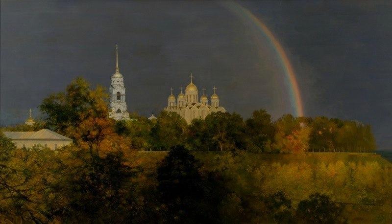Город Владимир на картине Изотова - Над Владимиром. 2007 г.