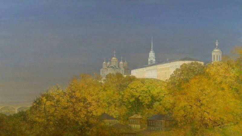 Город Владимир на картине Изотова - Осеннее утро. Детинец. 2008 г