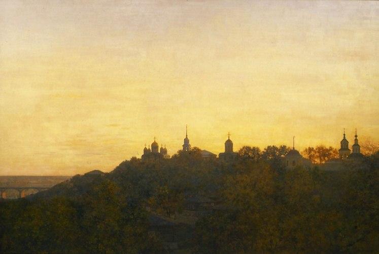 Город Владимир на картине Изотова - Свете тихий. 1997 г.