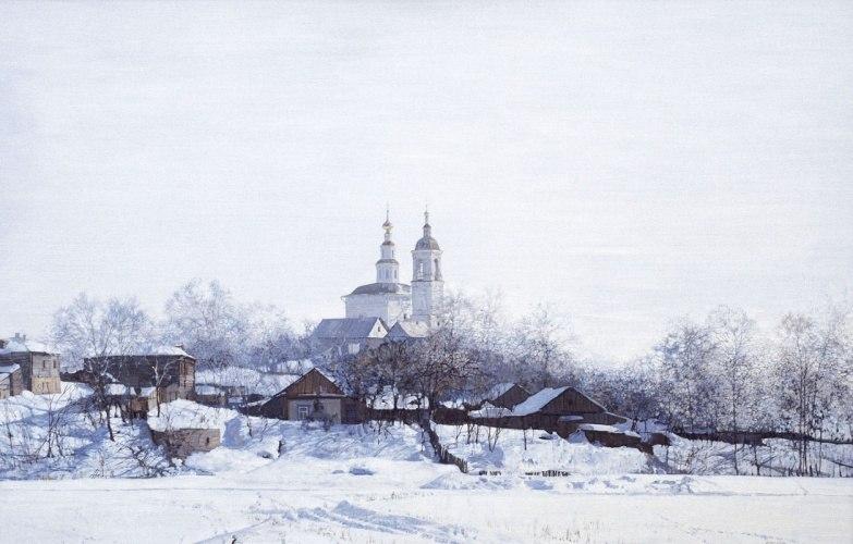 Город Владимир на картине Изотова - Храм Вознесения во Владимире 2000 г.