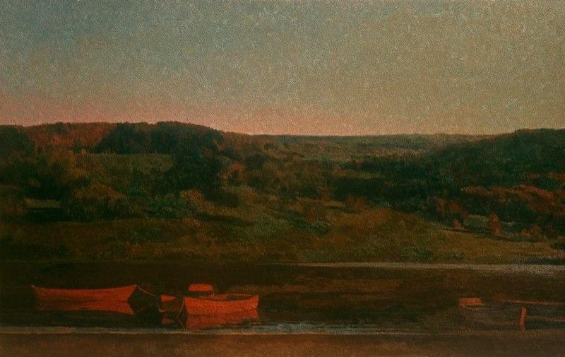 Изотов М.Н. - Вечер на Оке. 1983. Холст, масло 75х115 Картинная галерея, Ноябрьск