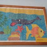 Школьный вернисаж в Школе 18 г. Мурома. Лобкова Марина - Морское дно (мозаика)