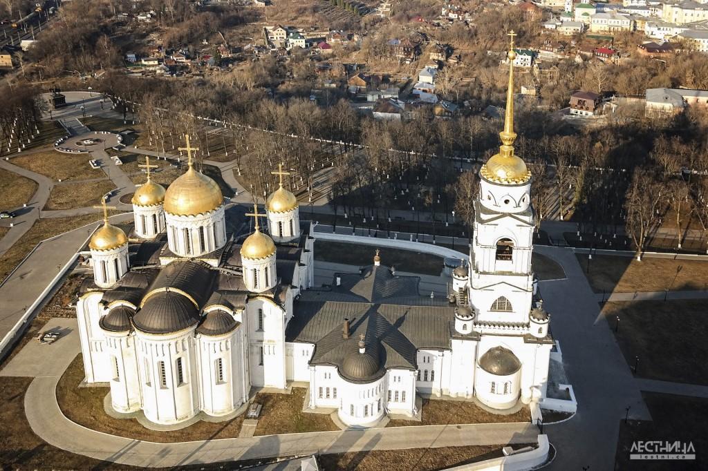 Город Владимир. Успенский собор с высоты птичьего полета.