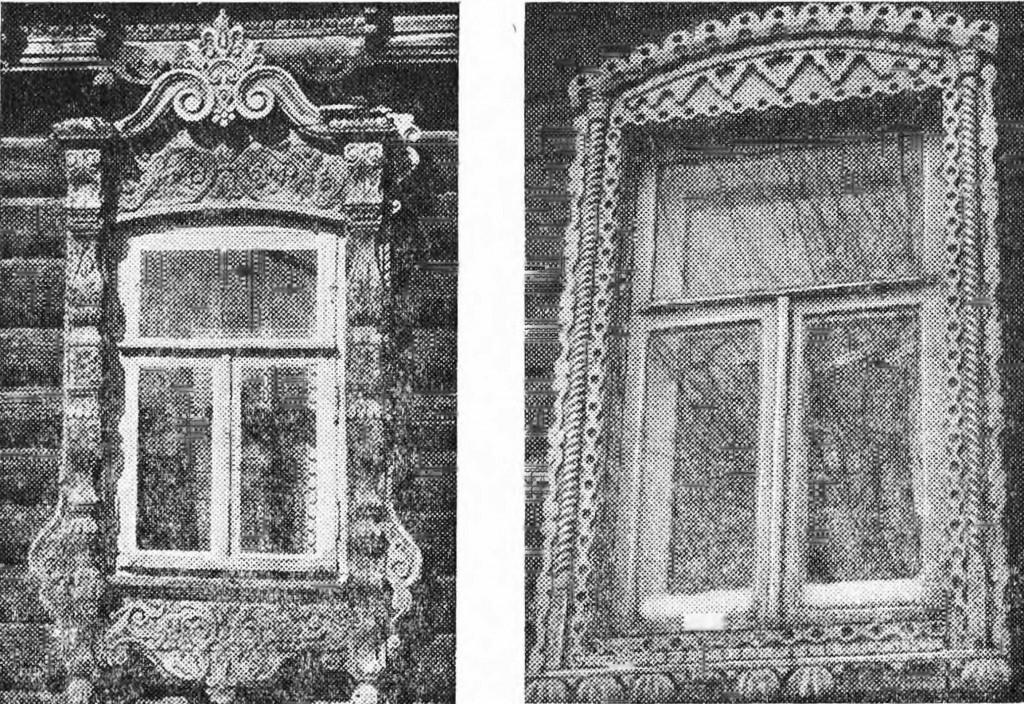 Слева - Наличник окна 1960 г. (с. Санино, Петушинский р-н, дом Аничкина). Справа - Наличник окна XX в., Суздаль, ул. Ленина, 89
