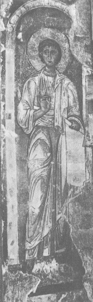 Владимирские мастера. Пророк Аввакум. Около 1189 Фреска на северном столбе в восточной части собора.