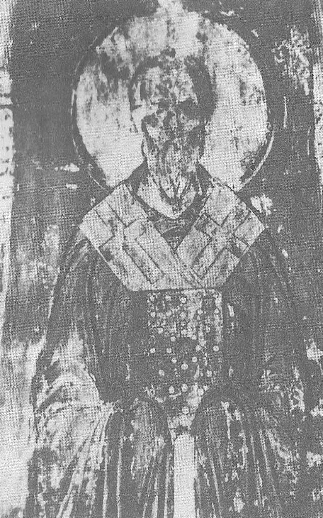 Владимирские мастера. Святой Артемий. Около 1189 Фреска на своде арки в юго-западной части собора.
