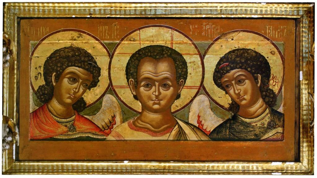 Константинопольский художник, мастер росписи Дмитриевского собора? Деисус: Эммануил с архангелами. Конец XII — начало XIII в.