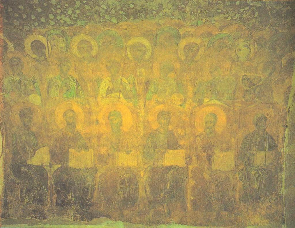 Константинопольский художник и владимирские мастера. Апостолы и ангелы. Около 1195 Фреска на большом своде под хорами.