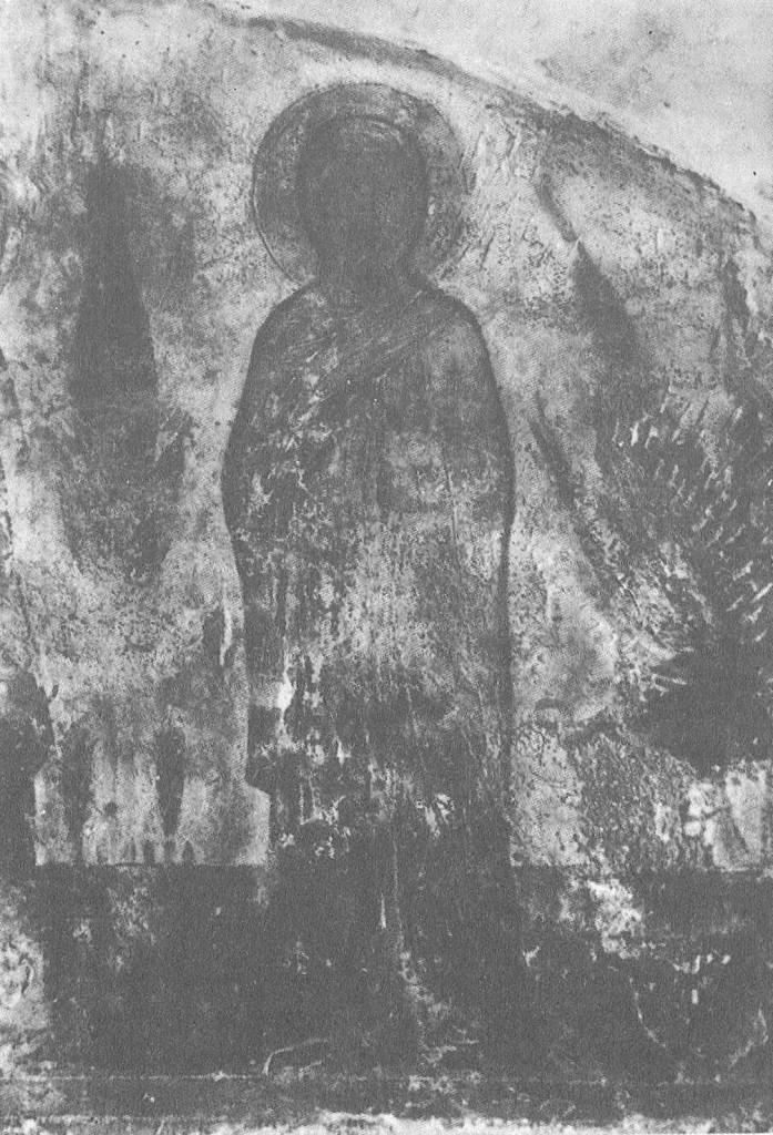 Святая Мария. 1202 Фрагмент фрески в аркосолии на северной стене церкви Бориса и Глеба в Кидекше