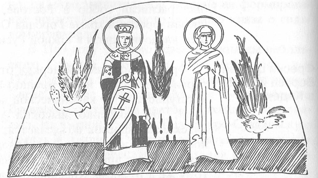 Святые жены Евфросиния и Мария. 1202 Фреска в аркосолии на северной стене церкви Бориса и Глеба в Кидекше