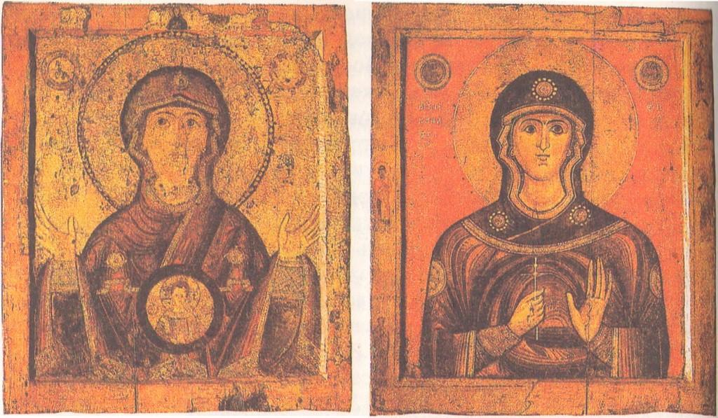 Двусторонняя икона «Богоматерь Знамение» и «Неизвестная святая». Около 1205—1207. Лицевая сторона, оборотная сторона