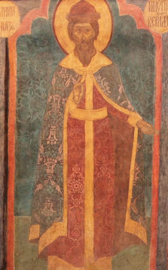 Князь Константин Всеволодович Мудрый. Изображение на фреске в Архангельском соборе Московского Кремля. 1652-1666