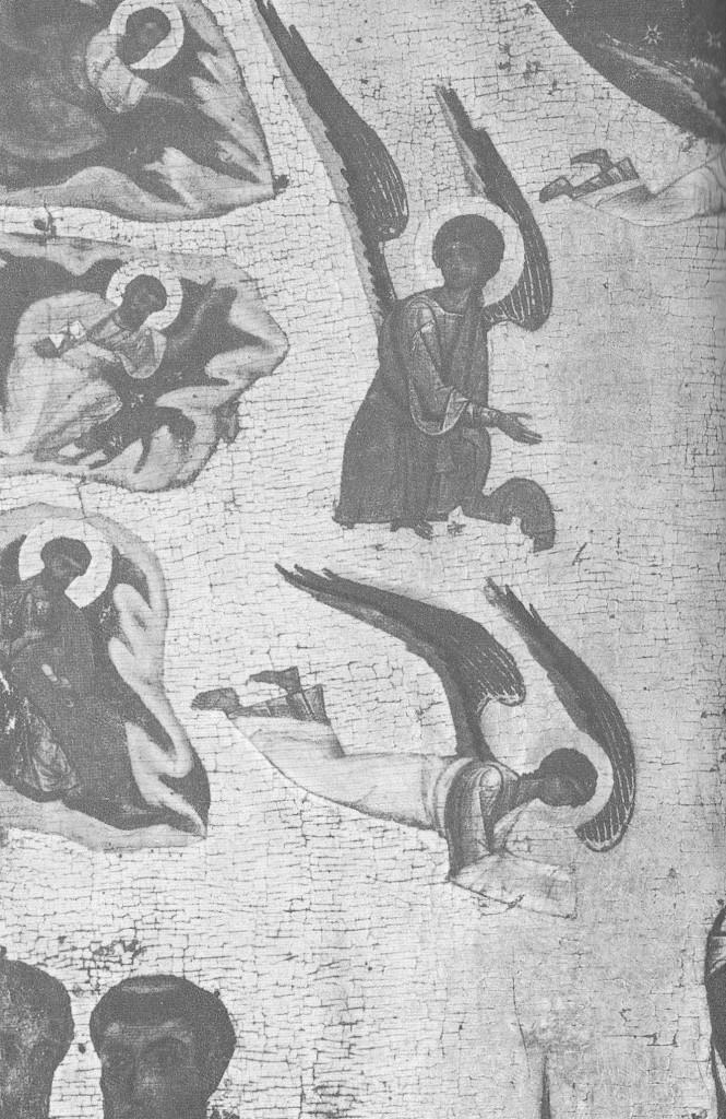 Группа апостолов, стоящих у ложа с телом Марии справа. Деталь иконы