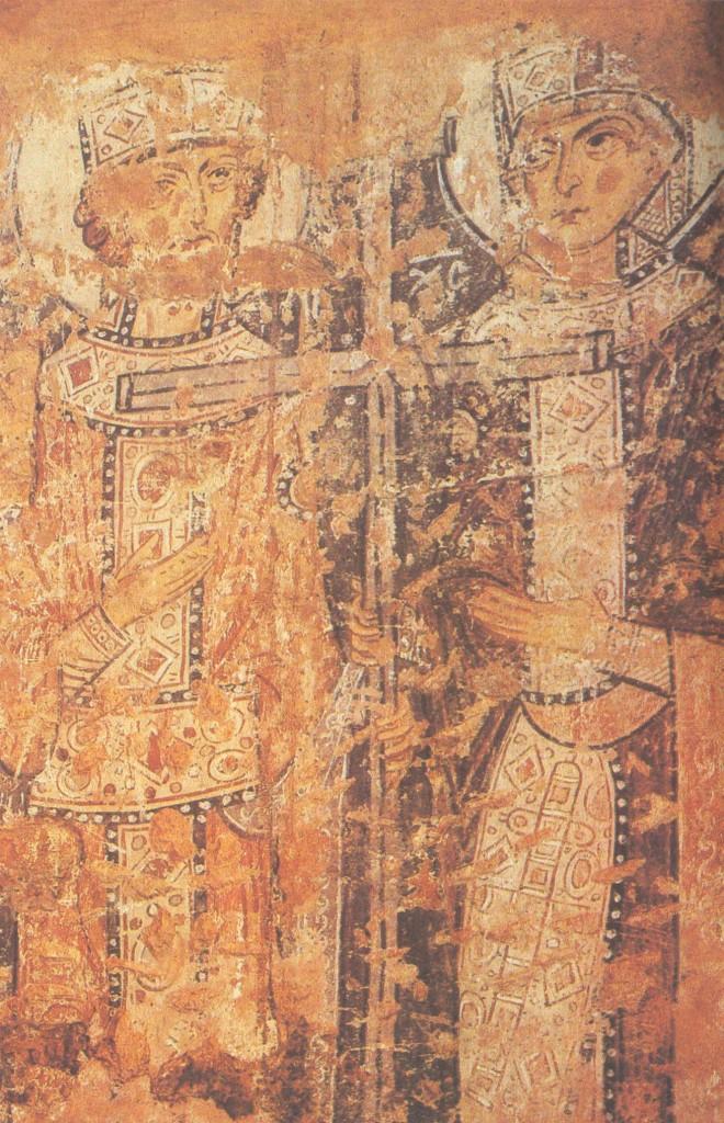 Константин и Елена Фреска на Мар-тирьевской паперти в Софийском соборе в Новгороде. 1205