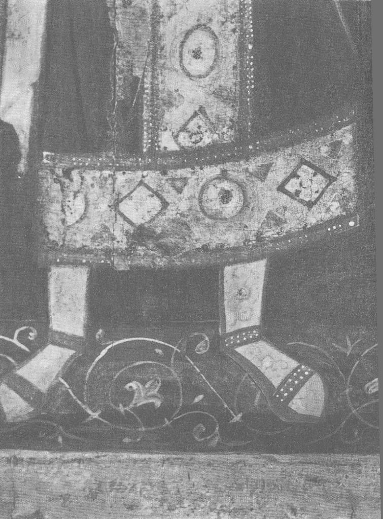 Ноги архангела Михаила и фрагмент орнамента на поземе. Деталь иконы