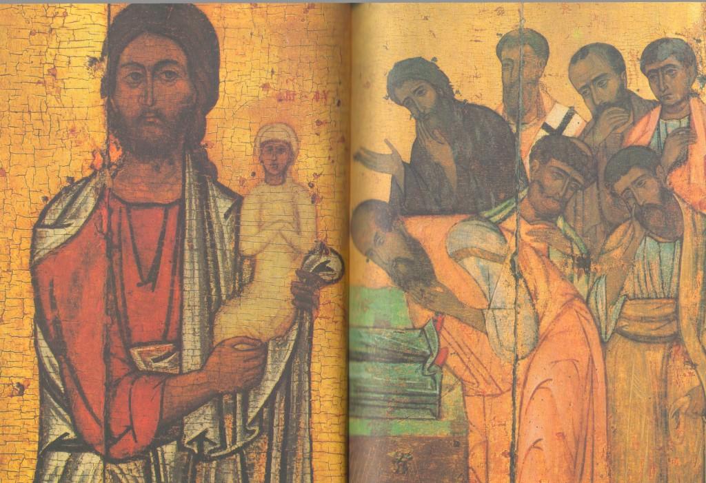 Слева: Христос, держащий душу Марии Справа: Группа апостолов, стоящих у ложа с телом Марии справа. Деталь иконы