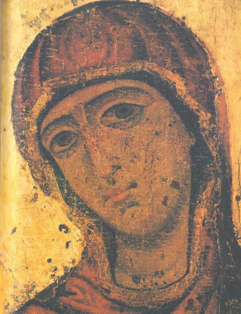 Голова Богоматери. Деталь иконы