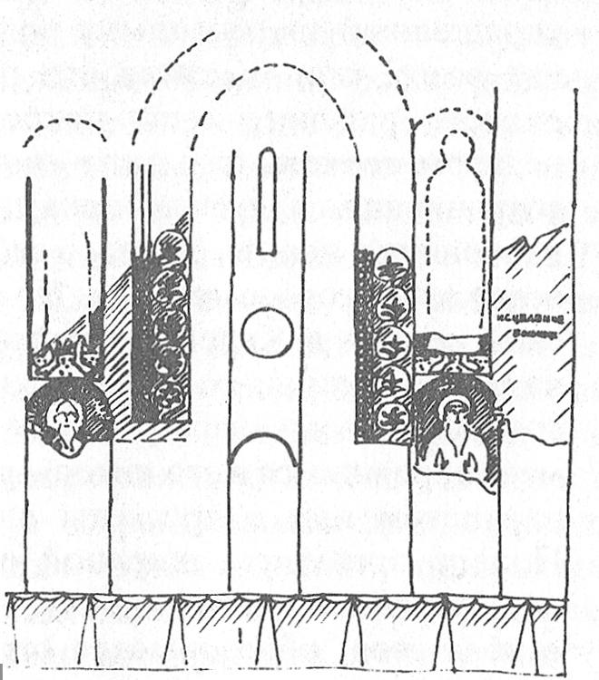Схема росписи стены диаконника в суздальском соборе. 1233