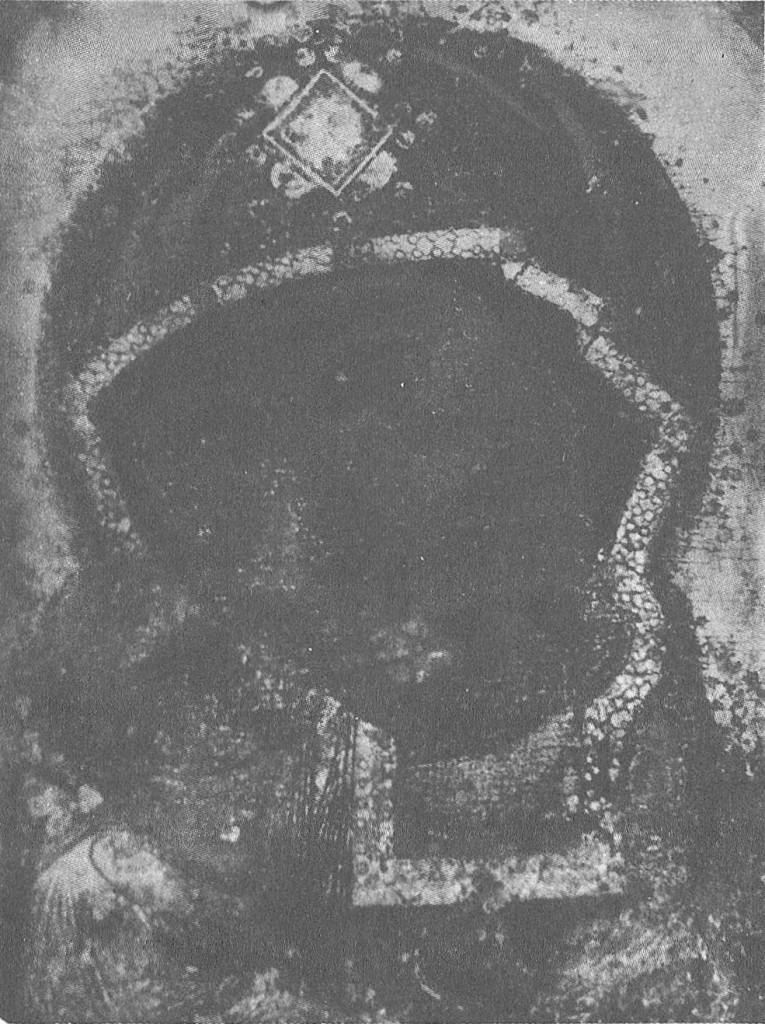 128. Головы Богоматери и младенца Христа. Деталь иконы «Богоматерь Федоровская». Фотография 1920-х гг.