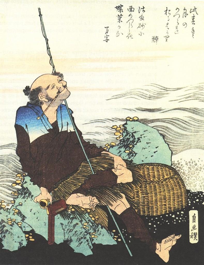 Рыбак на скале японская цветная ксилография